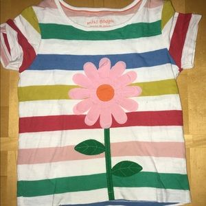 Mini Boden Striped Flower Appliqué Tee